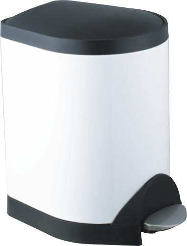 Foot pedal stainless steel dustbin S-5A(White)